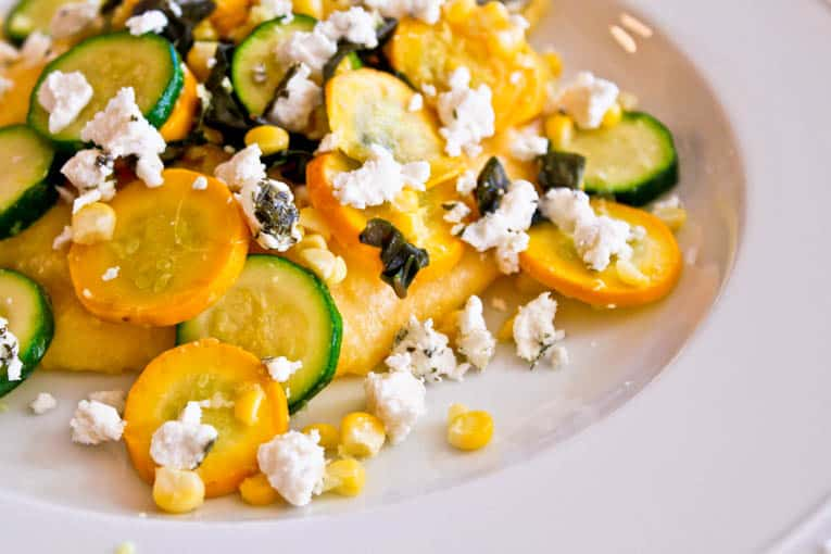 Corn and Goat Cheese Polenta with Garlicky Summer Squash ...
