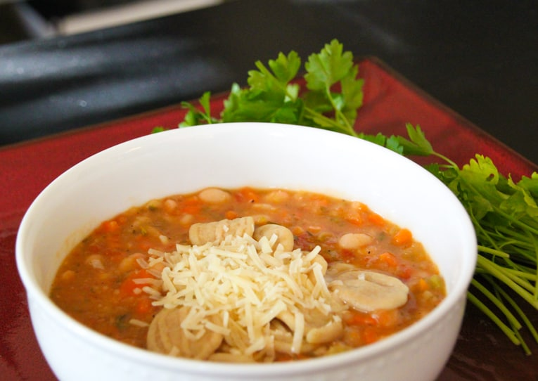Chunky White Bean Soup with Fresh Herbs, Pasta and Parmesan