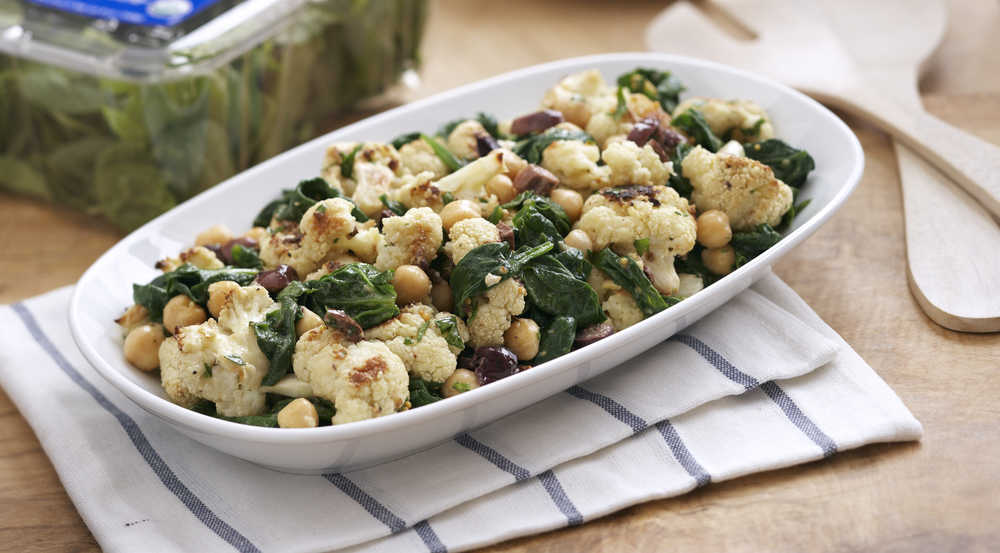 Roasted Cauliflower Salad with Spinach and Chickpeas — The Picky ...