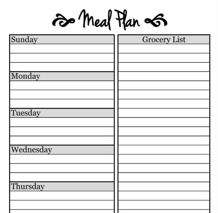 Simple Meal Planning Template  The Picky Eater