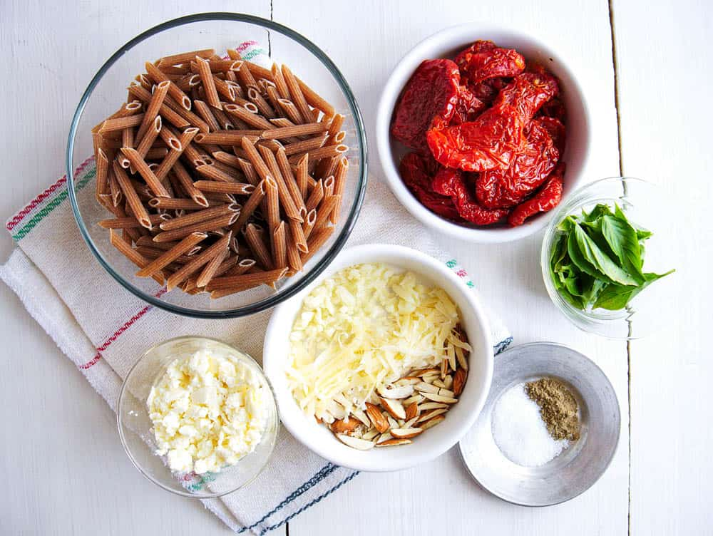 Ingredients for pasta and sun-dried tomato pesto.