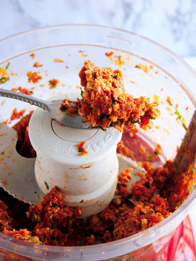 Sun-dried tomato pesto after being processed.