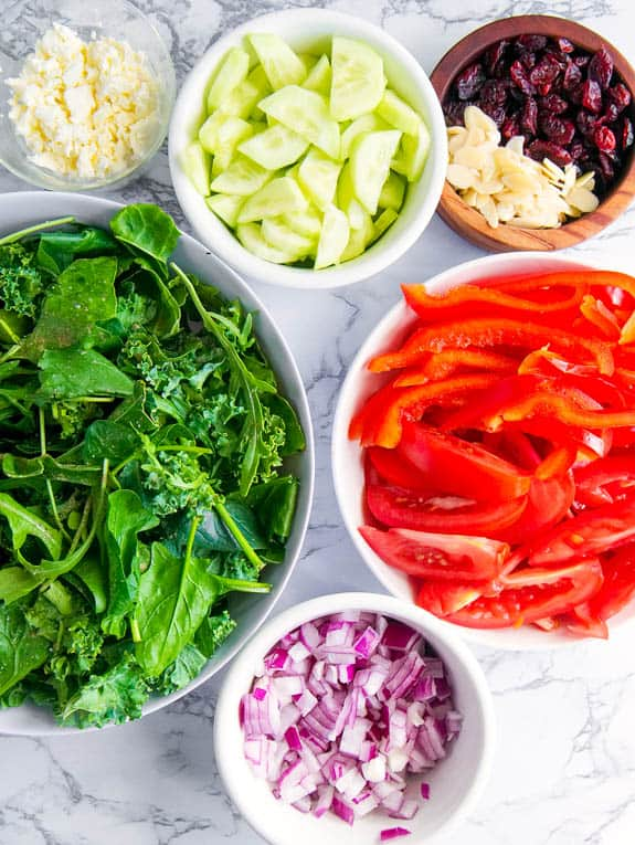 ingredients for Greek Salad with feta and mixed greens