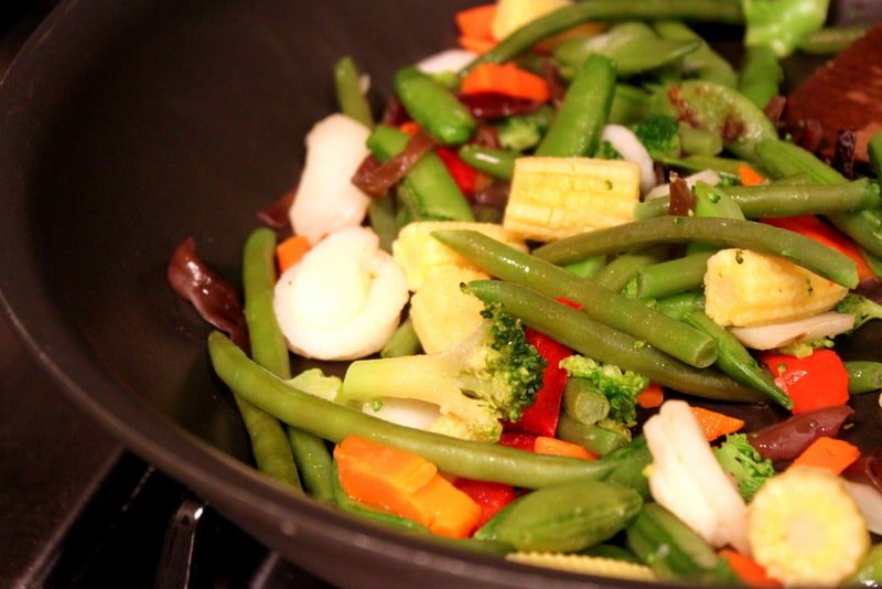 vegetables in a pan
