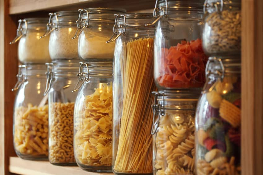 best items for a healthy pantry - dried pastas and grains in jars