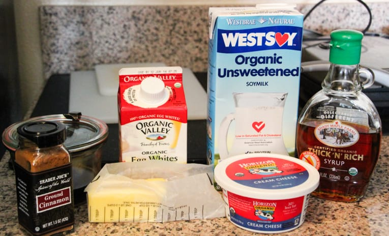 Ingredients to make french toast bread pudding