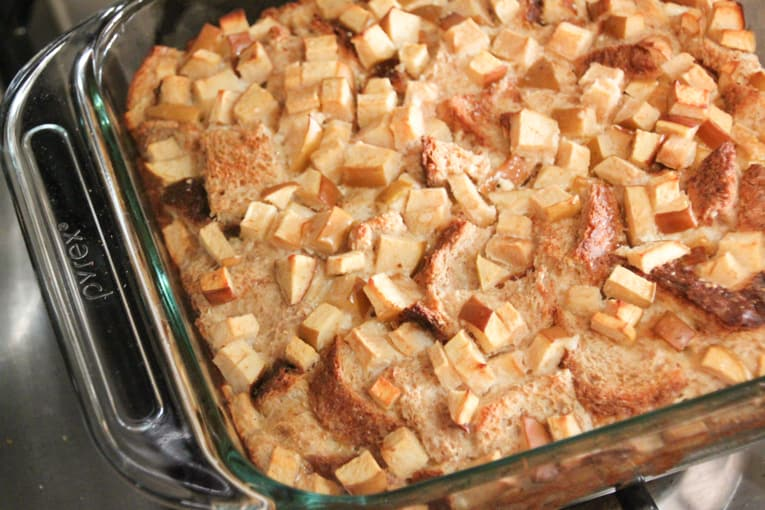 Finished french toast bread pudding in a glass dish