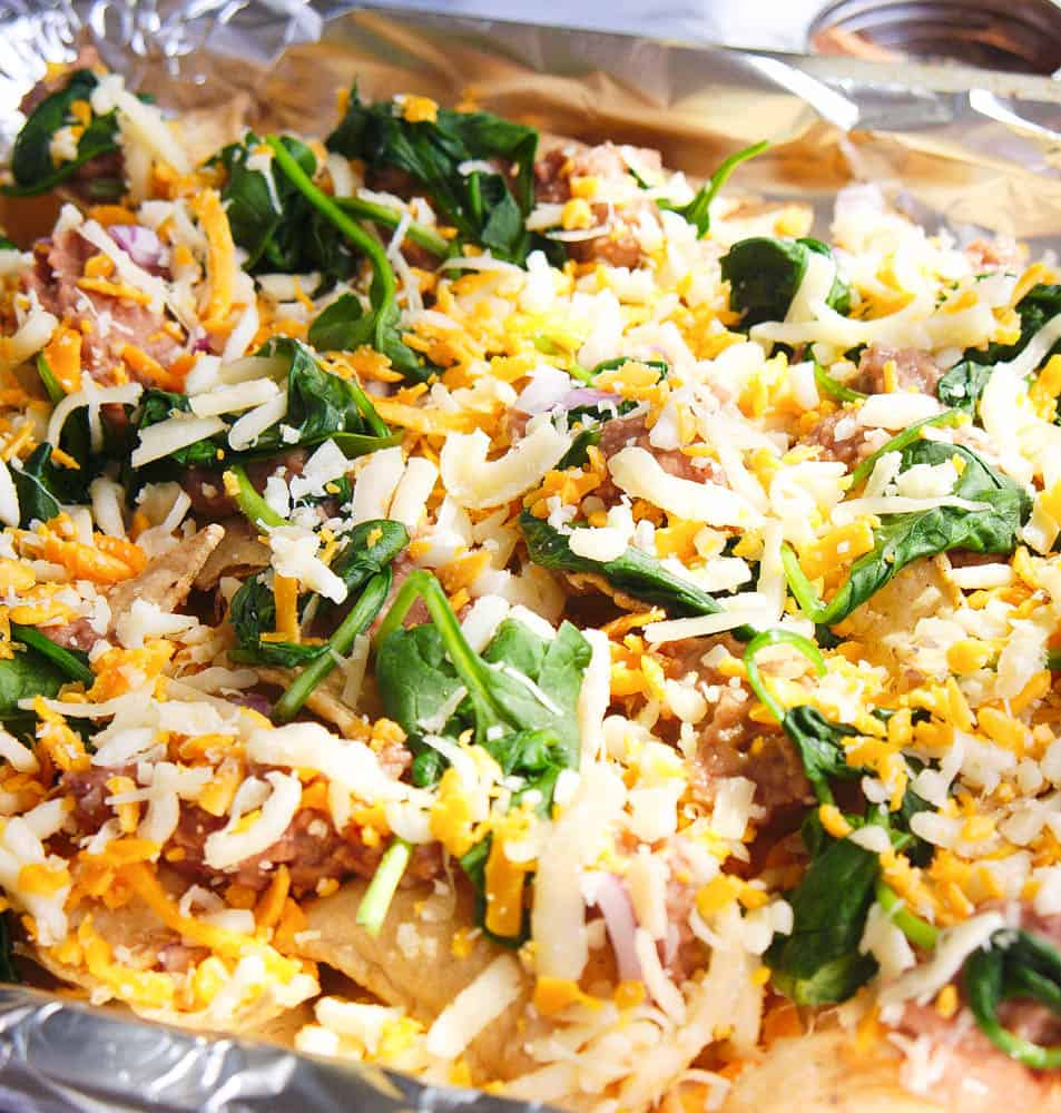 guilt free late night nachos before being baked in the oven