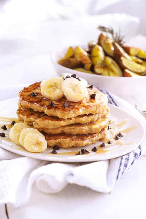 Oatmeal Sunflower Pancakes on a white plate
