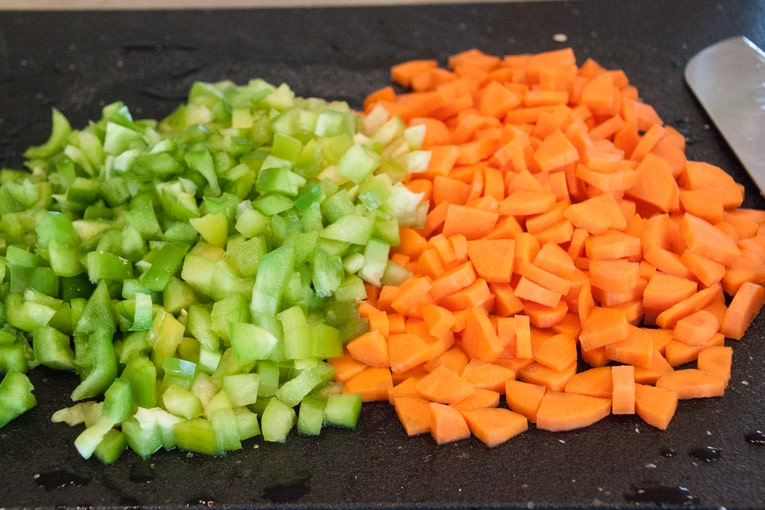 Chopped carrots & bell peppers