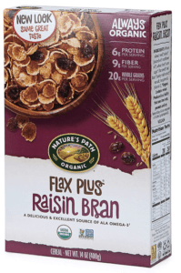 natures path flax plus raisin bran - healthiest breakfast cereals