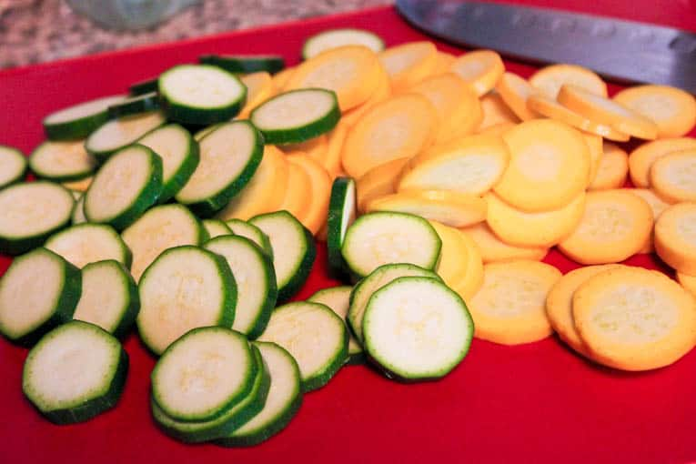 summer squash cut into rounds.