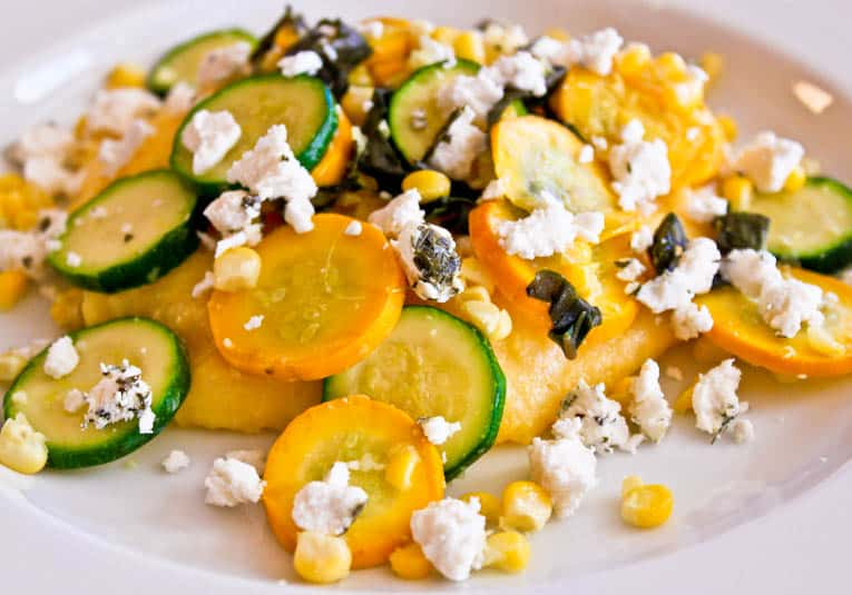 Close up of Corn and Goat Cheese Polenta with Garlicky Summer Squash