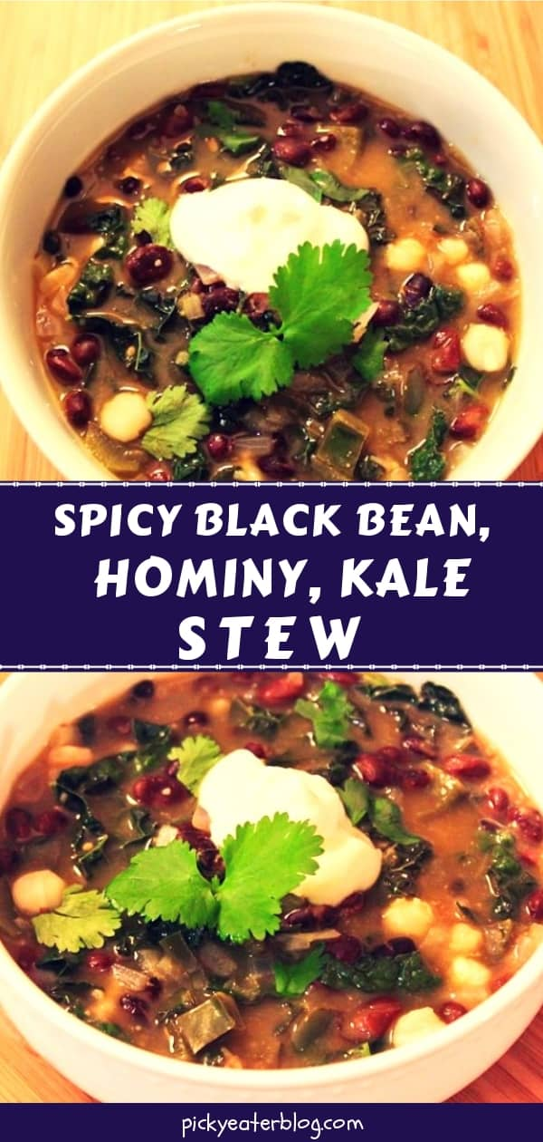 Spicy Black Bean, Hominy and Kale Stew - easy healthy recipes, tasty healthy recipes, delicious healthy recipes, vegetarian healthy recipes, quick and easy recipes for picky eaters #healthyfood #food