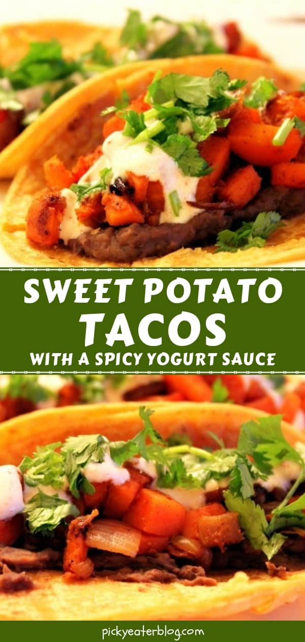 Sweet Potato Tacos with a Spicy Yogurt Sauce - easy healthy recipes, tasty healthy recipes, delicious healthy recipes, vegetarian healthy recipes, quick and easy recipes for picky eaters #healthyfood #food