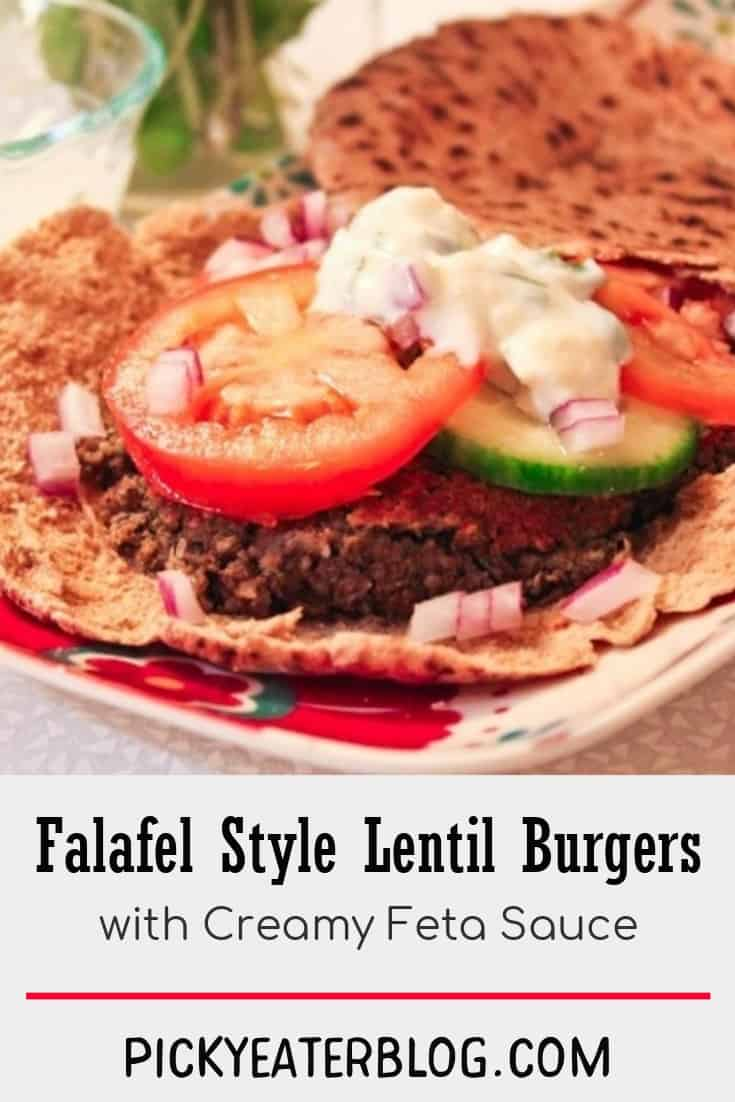 falafel style lentil burgers with creamy feta sauce-healthy food yummy, healthy delicious food, healthy food tips for picky eaters, picky kids meals