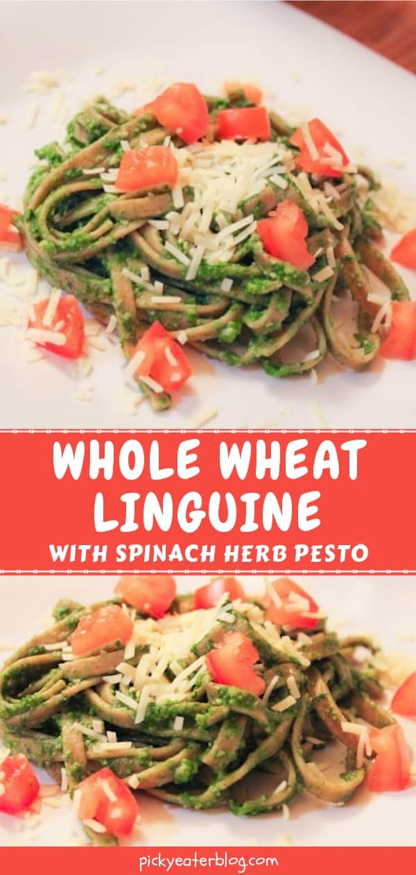 whole wheat linguine with spinached herb pesto-healthy food yummy, healthy delicious food, healthy food tips for picky eaters, picky kids meals
