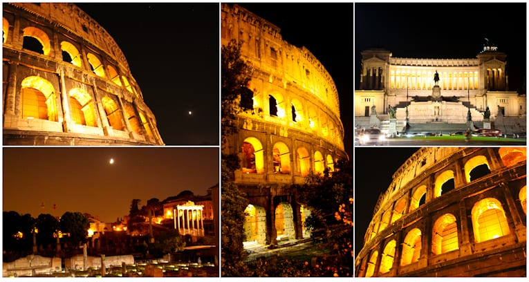 6 - colleseum and piazza venezia at night collage