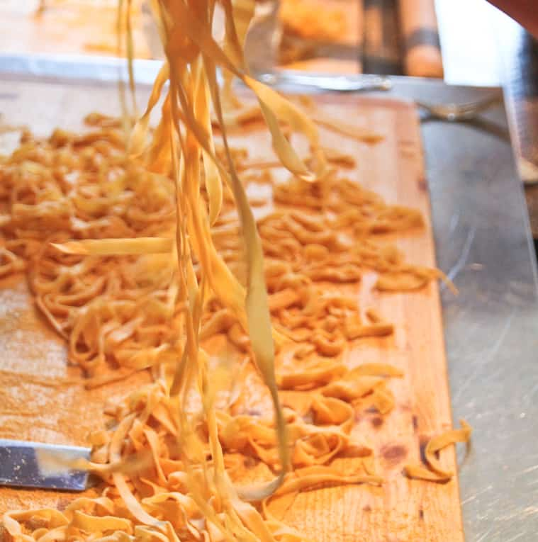 Homemade Tagliatelle being separated