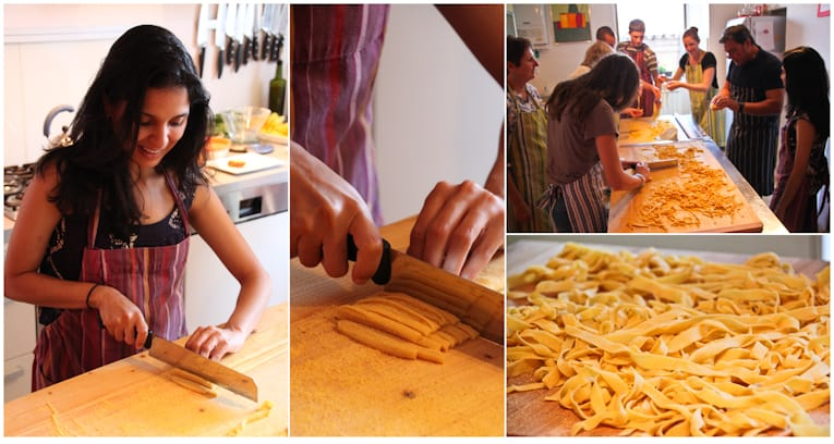 Collage of pasta dough being cut into strips