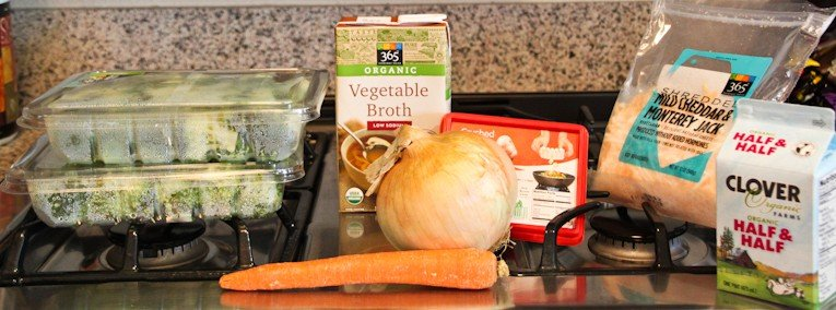 ingredients for healthy broccoli cheese soup