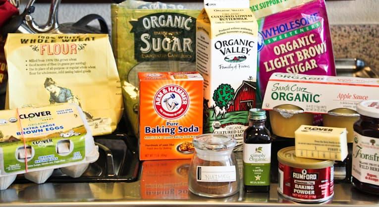 Ingredients to make cinnamon sugar muffins