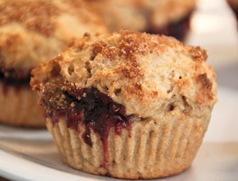 Close up of a cinnamon sugar muffin