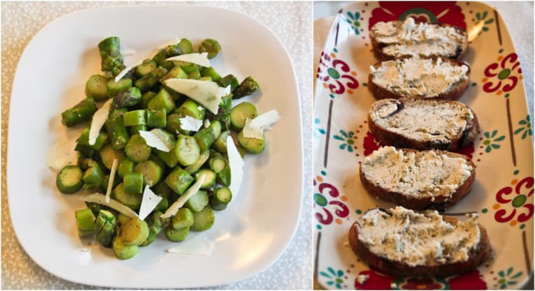 crostini and asparagus