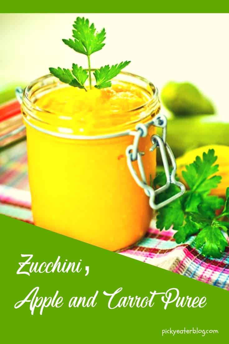 zucchini, apple, carrot puree - homemade baby food organic, making baby food recipes, baby food puree, baby food ideas, baby food introducing, healthy baby food recipes