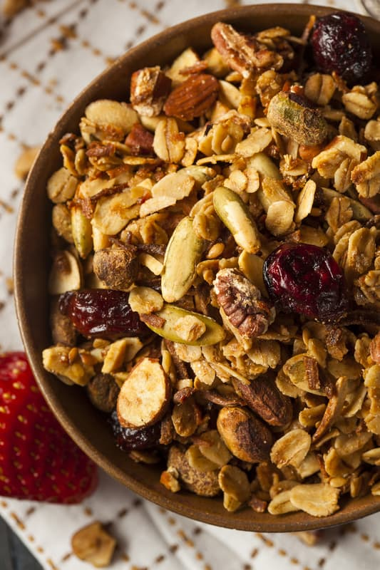 Close up of Maple Granola in a large bowl