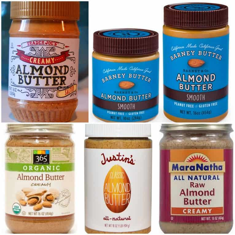 healthiest nut butter guide: graphic of all the almond butter brands available that are healthy