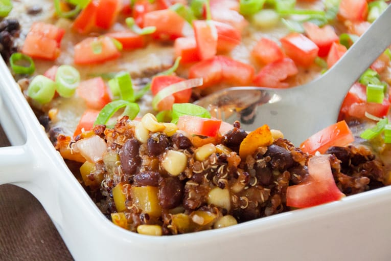pantry meal cheesy quinoa and black bean casserole