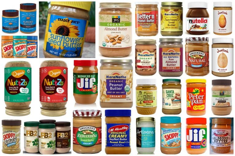 healthiest nut butter guide: graphic of all of the nut butter options available from peanut, almond, cashew, sunbutter, etc.