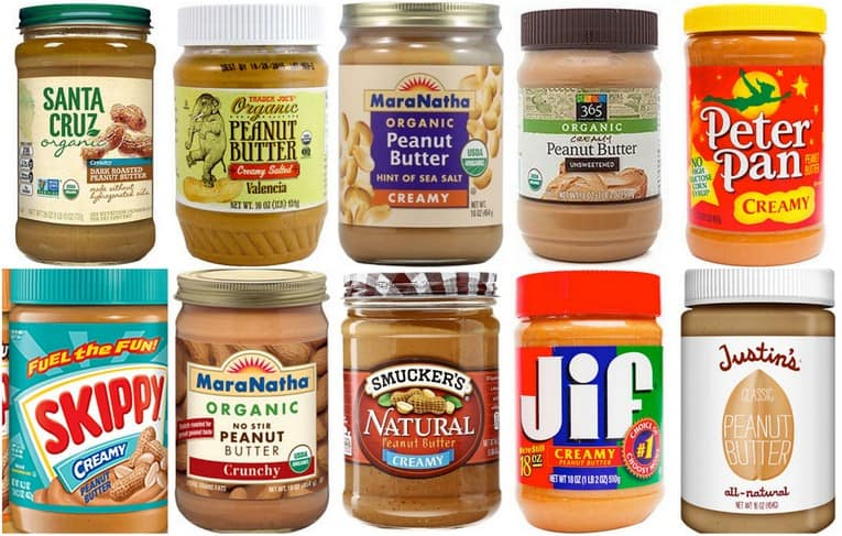 healthiest nut butter guide: graphic of all the peanut butter brands available that are healthy