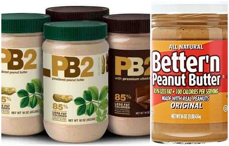 graphic of all the powdered peanut butter brands available that are healthy