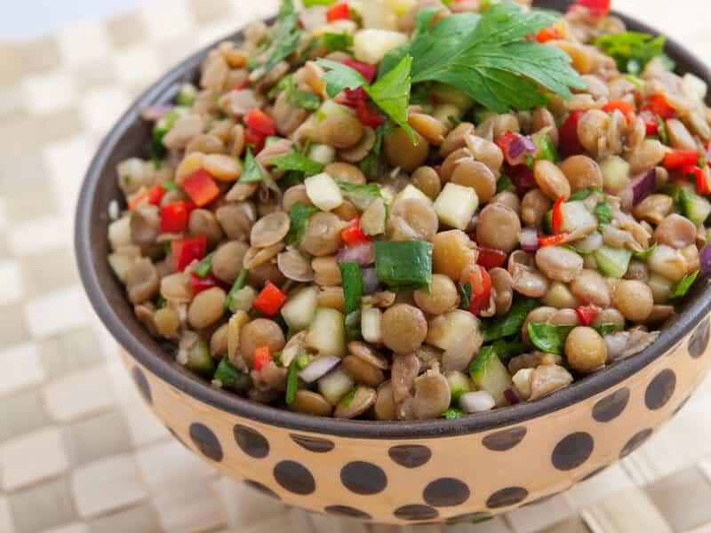pre and post workout meals - image of lentil salad