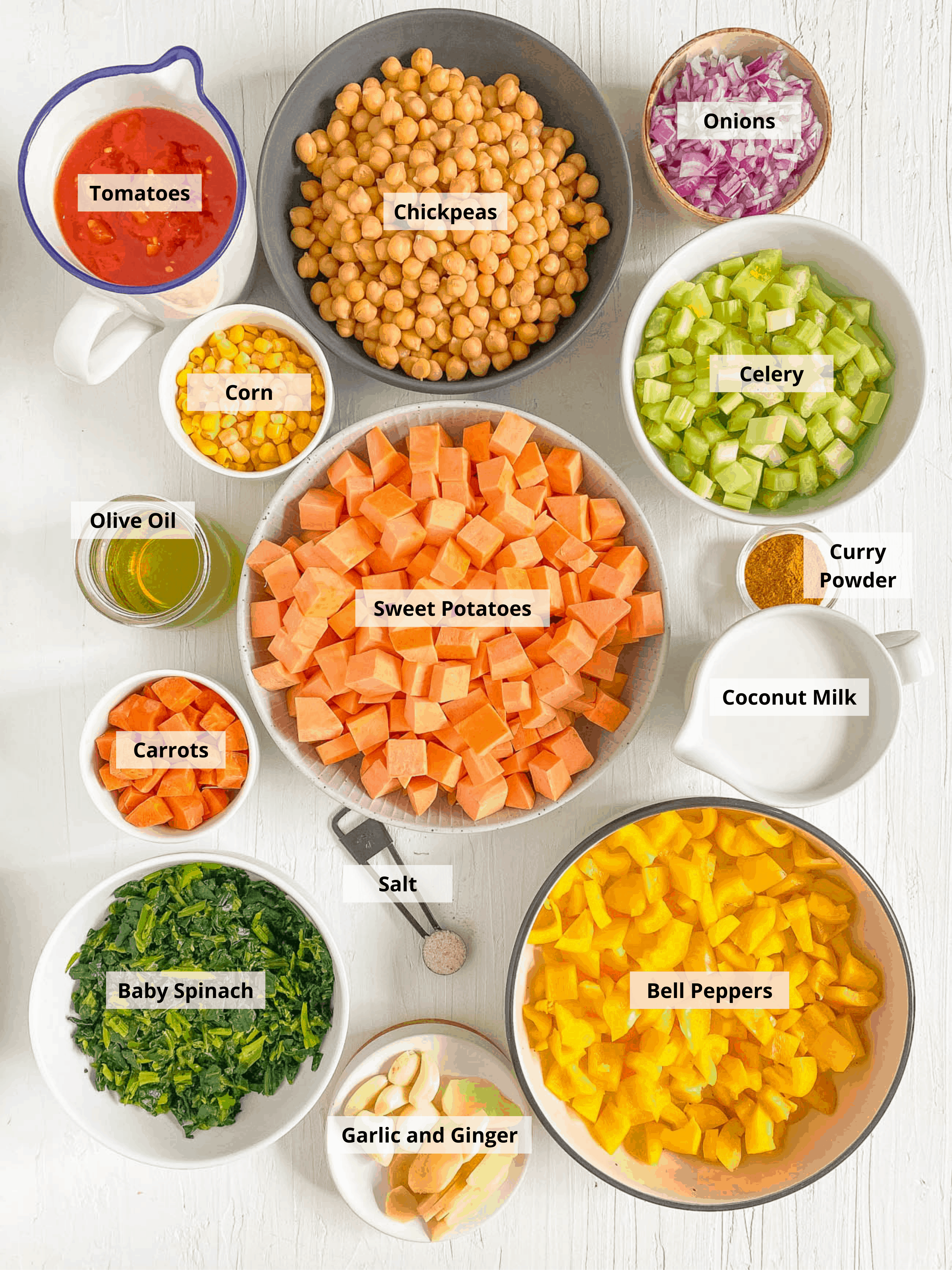 sweet potato and chickpea curry ingredients