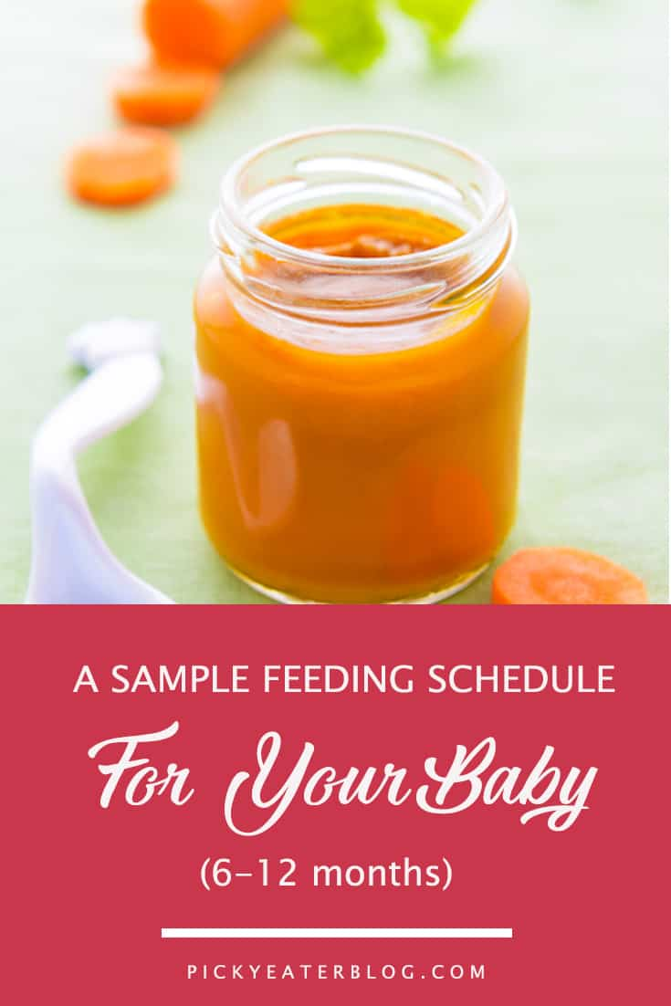 a sample feeding schedule for your baby. homemade baby food organic, making baby food recipes, baby food puree, baby food ideas, baby food introducing, healthy baby food recipes