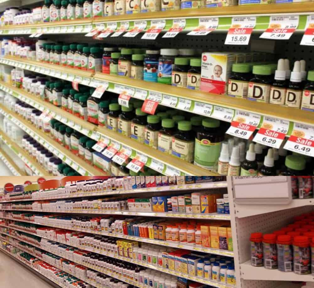 grocery aisle shelves stacked with vitamins