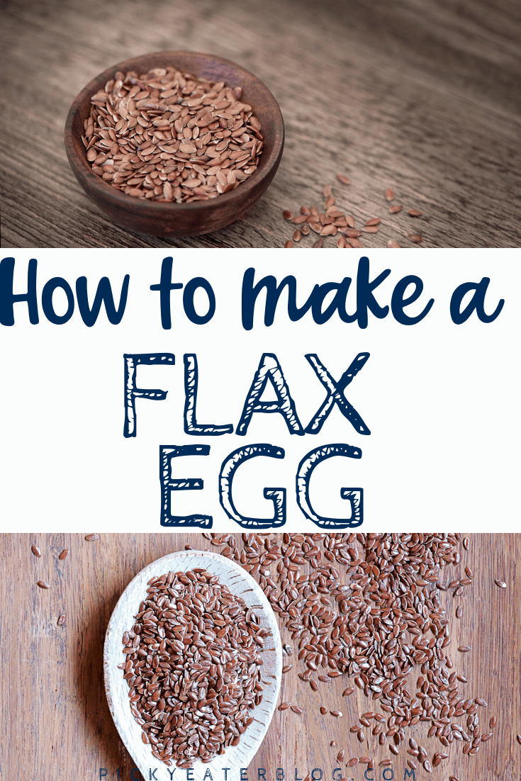 How to make a flax egg: mix 1 tbsp ground flaxseed meal with 2.5-3 tbsp water. Mix and let sit for 5 minutes. Use as a 1:1 substitute for eggs.