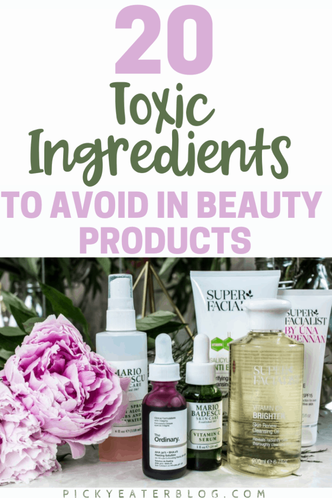 Many chemicals in body care products are harmful to our health! Here are the top 20 ingredients to avoid in beauty products and what to buy instead!