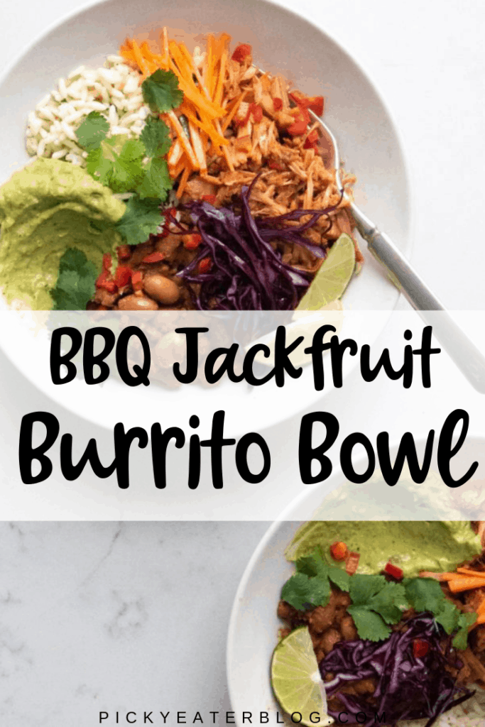 This BBQ Jackfruit Burrito Bowl recipe is guaranteed to satisfy vegetarians, vegans and meat eaters alike! It's super flavorful, hearty and satisfying!