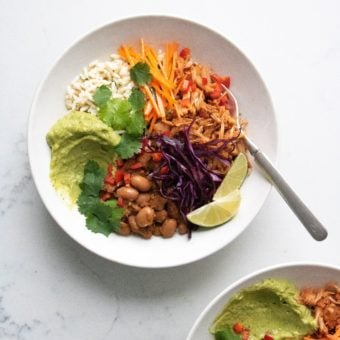 Top shot of two jackfruit burrito bowls