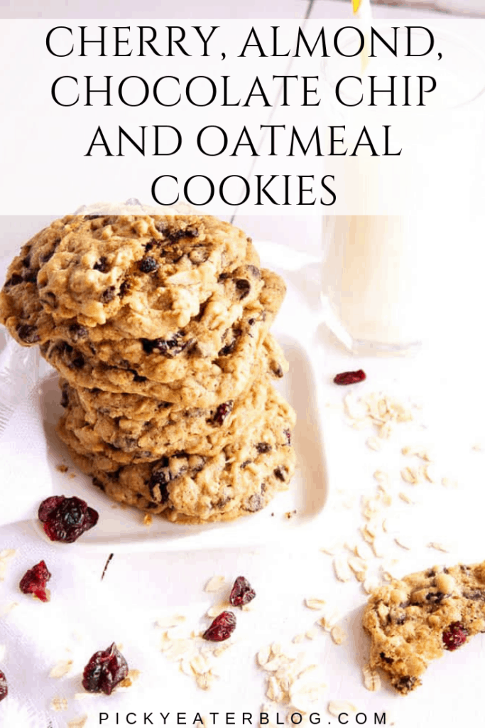 These delicious Cherry, Almond, Chocolate Chip & Oatmeal cookies are the perfect treat! Sweet and chunky, they are guaranteed to please a crowd!