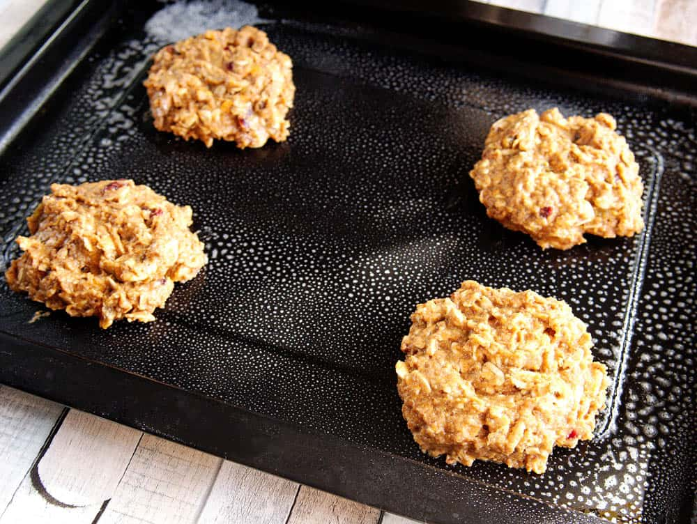 Uncooked breakfast cookies on an baking sheet