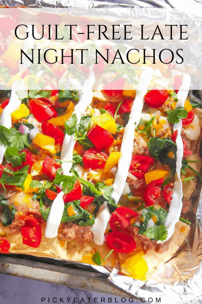 These cheesy, loaded, vegetarian, late night nachos are super satisfying and ready in under 30 minutes! And the best part: they taste just like the traditional recipe but can be enjoyed completely guilt-free!