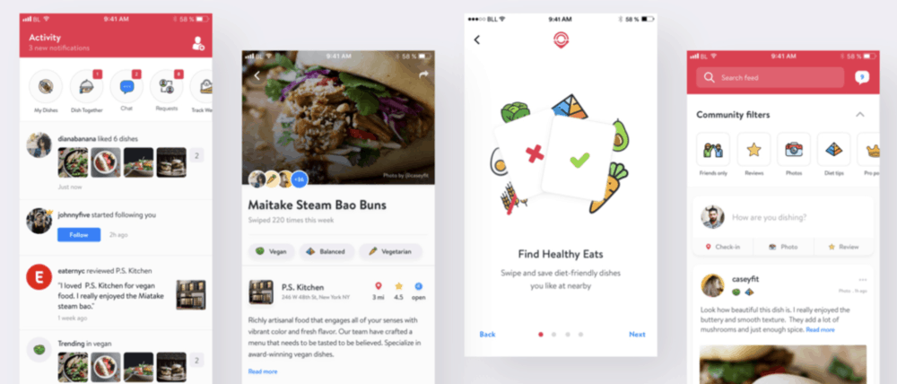 screenshots of howudish app demonstrating meal planning and ideas for healthy eating