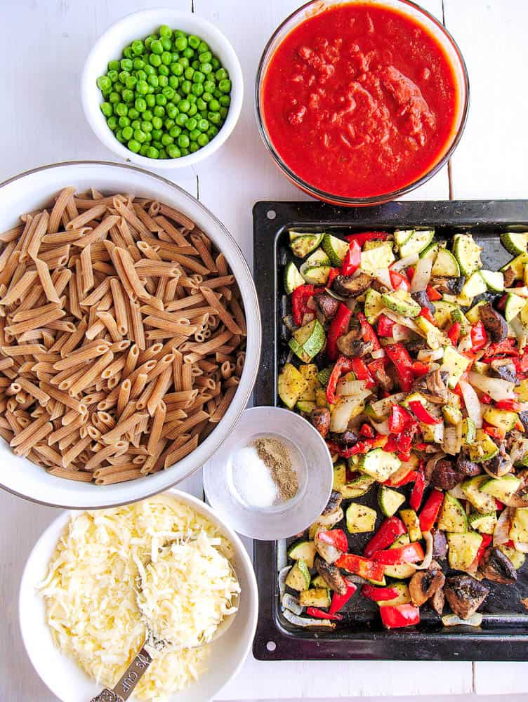 Roasted vegetables and other ingredients for the baked penne pasta
