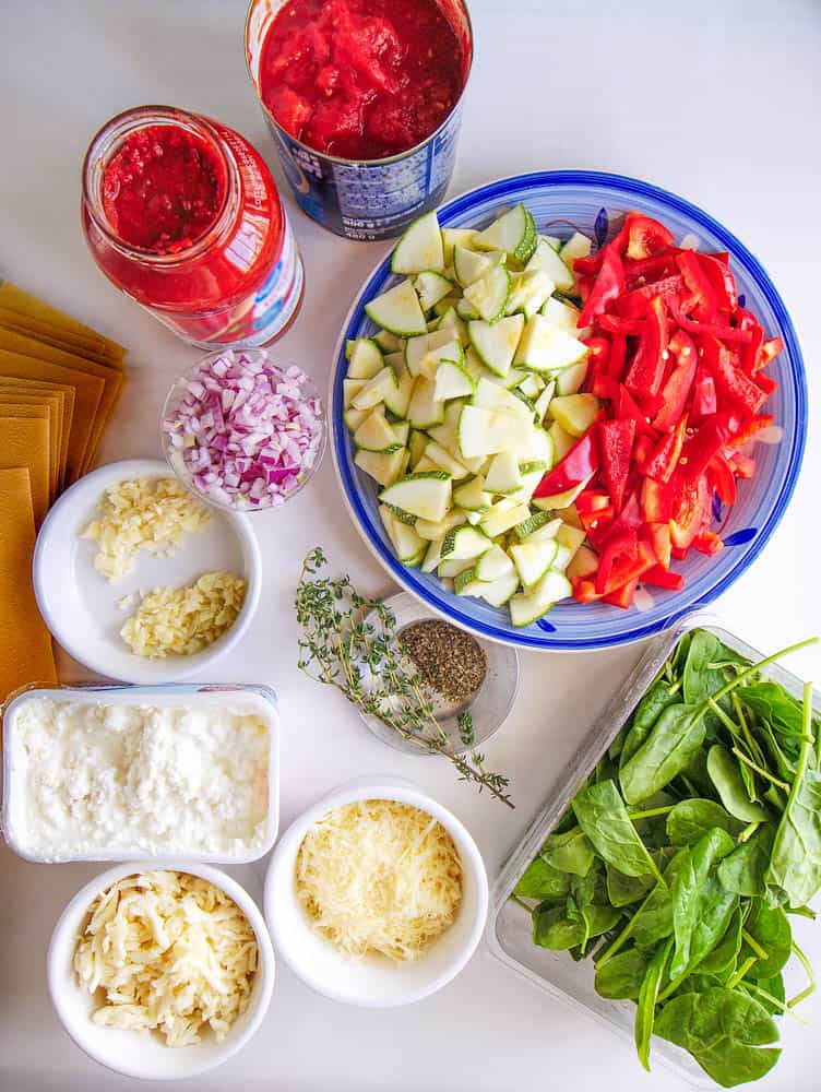 Ingredients to make healthy veggie lasagna