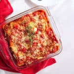 Baked healthy vegetarian lasagna in a glass casserole